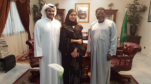 The Ambassador of Cameroon and the  Head of a Kuwaiti immigration agency with his wife