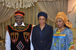 6_Mrs Avomo Assoumou with H.E Iya  Tidjani and Madam - Copy