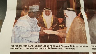His Highness the Amir Sheikh Sabah  Al-Ahmed Al-Jaber Al-Sabah receives credentials of the newly-appointed  Ambassador of Cameroon